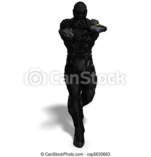 science fiction male character in futuristic suit. 3D rendering and shadow over white - csp5630663