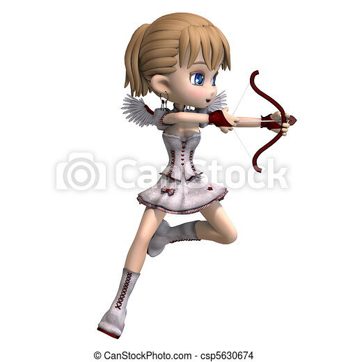 Lovely toon cupid sends you a valentine greeting. 3D rendering and shadow over white - csp5630674
