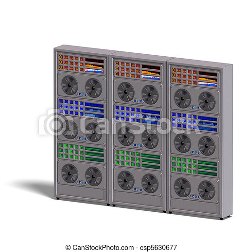 a historic science fiction computer or mainframe. 3D rendering and shadow over white - csp5630677