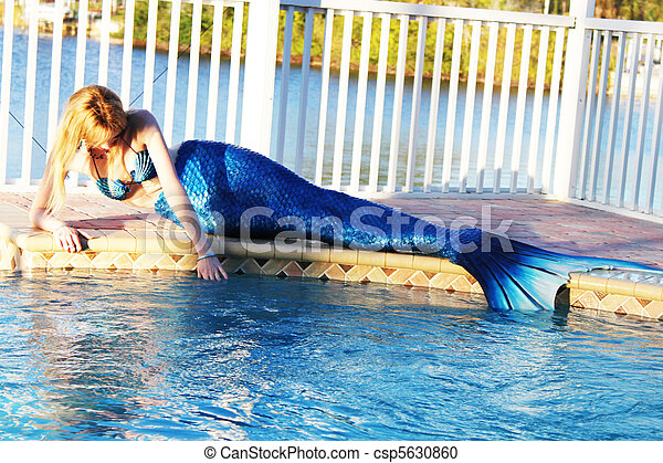 Stock Photography Of Mermaid Swimming Pool A Mermaid By The Swimming Pool Csp5630860 Search