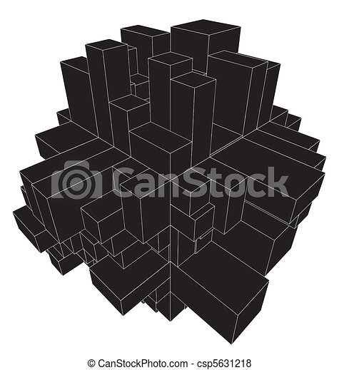 Abstract Urban City Boxes From Cube - csp5631218