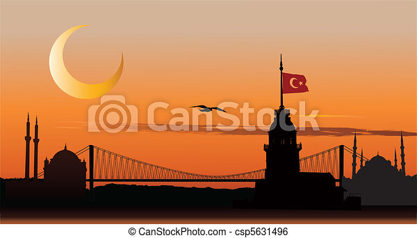 Silhouette of Istanbul at sunset - csp5631496