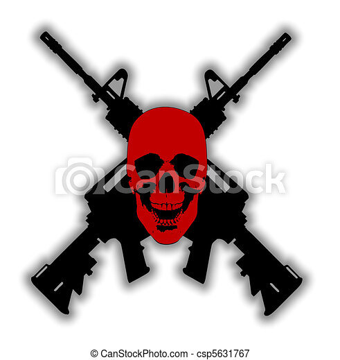 Skull and Guns - vector - csp5631767