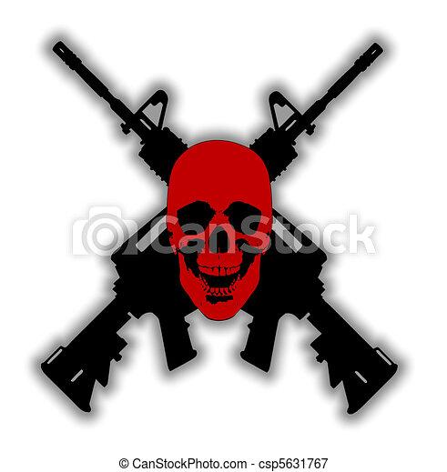 Skull and Guns - vector  - csp5631767