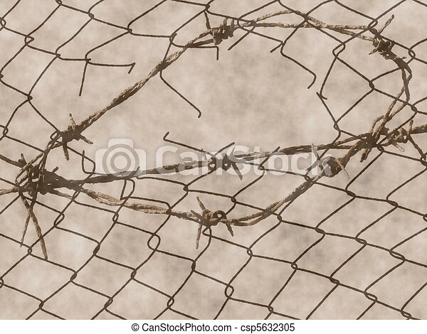 old rusty barbed hole wire fence  - csp5632305