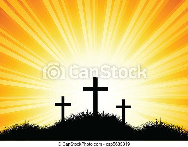 Crosses against sunset sky - csp5633319
