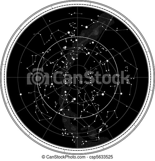 Celestial Map of The Night Sky - csp5633525