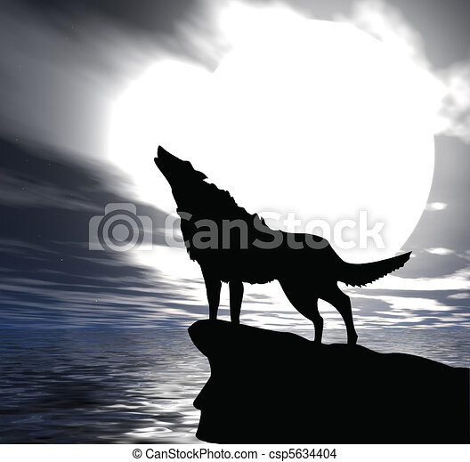 black wolf howling at the moon