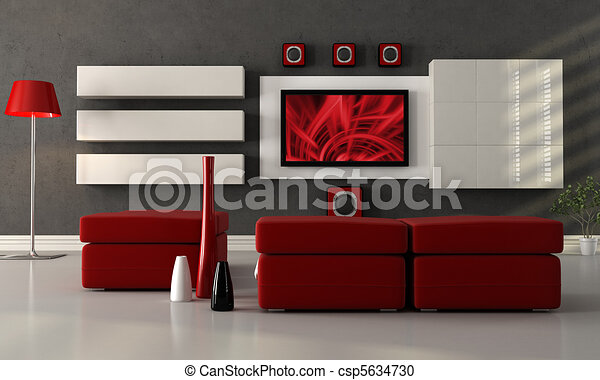 modern lounge with flat screen tv - csp5634730