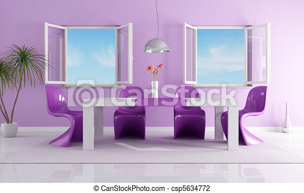 clip art of purple bright dining room - purple dining room with
