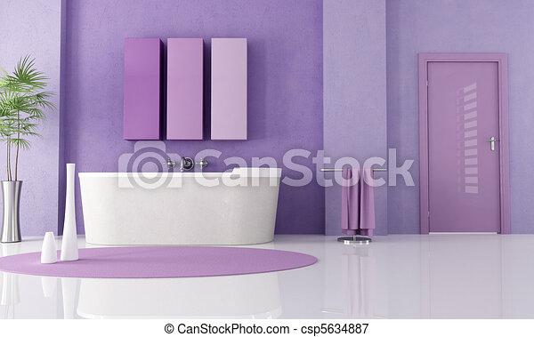 Lila, Badezimmer, Modern ...