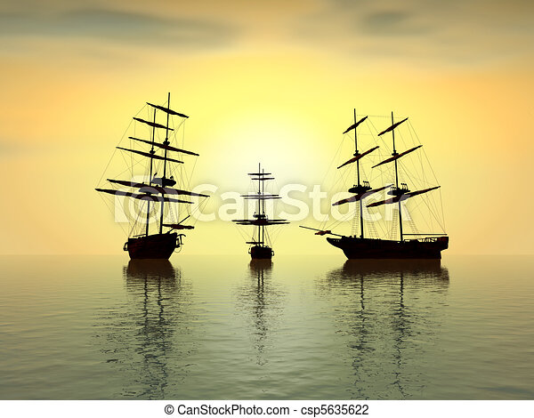 old ship at sunset over the ocean - digital artwork - csp5635622