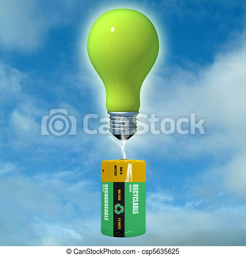 virtual sight of a light bulb loaded by an energy clean battery - csp5635625