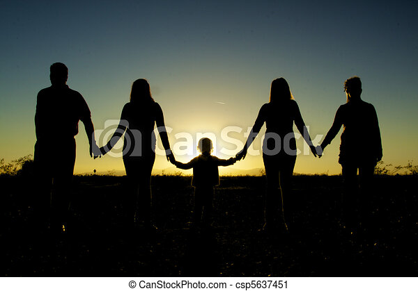 Family Togetherness Silhouetted - csp5637451