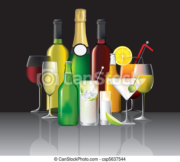 collection of alcoholic drinks - csp5637544