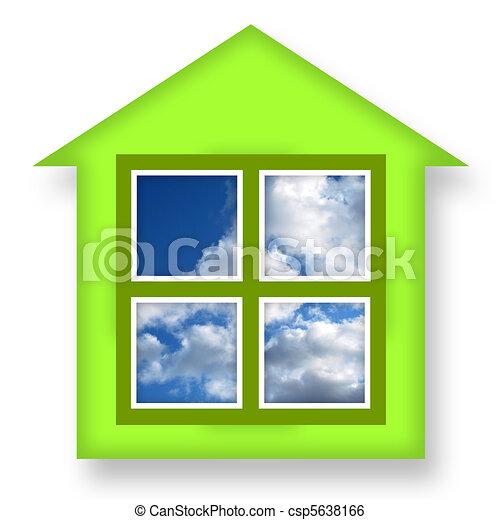 Illustration De Vert Maison Bleu Ciel Fenetres Sur