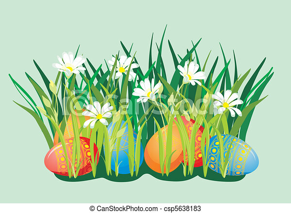 Easter background with eggs and blooming flowers - csp5638183