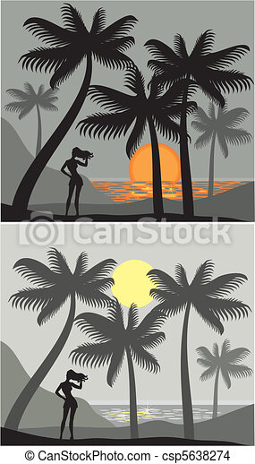 Sunset at Palm Beach - csp5638274