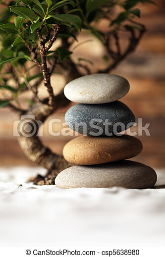 Stacked stones on sand with bonsai tree - csp5638980