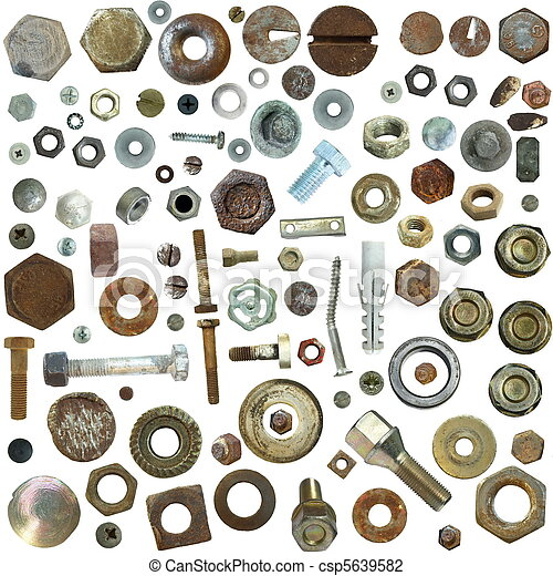 collection old rusty Screw heads - csp5639582