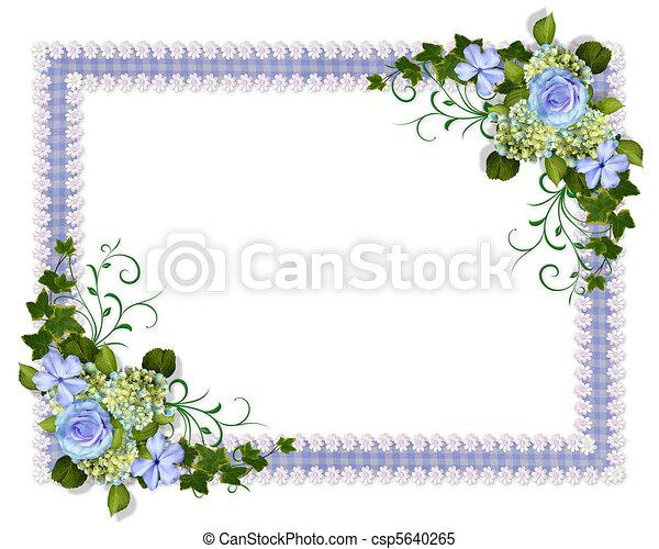 Wedding invitation blue floral  - csp5640265