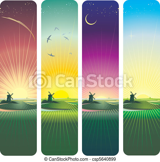 sunset and sunrise vertical banners - csp5640899