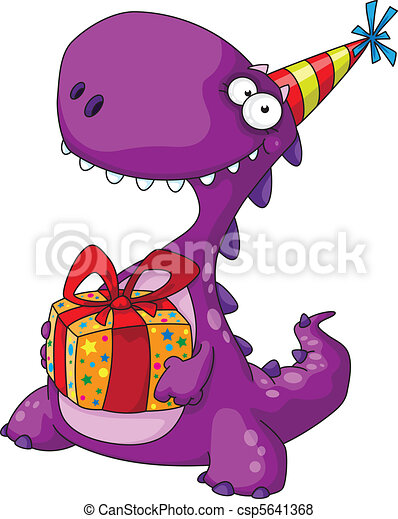 dinosaur and a gift - csp5641368
