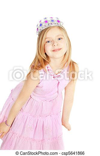 little girl princess over white - csp5641866