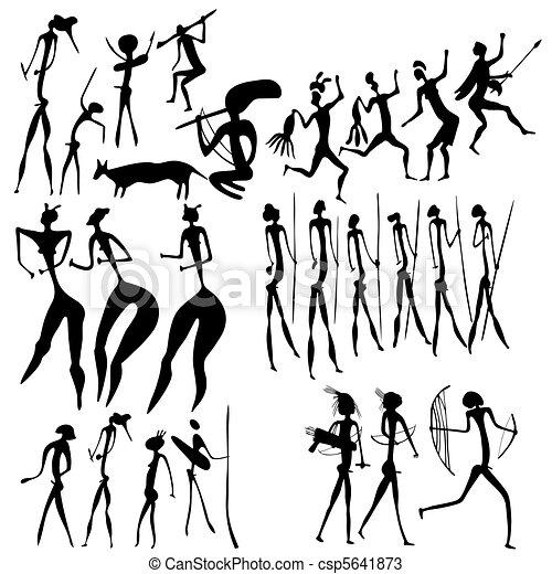 primitive art - various figures - csp5641873