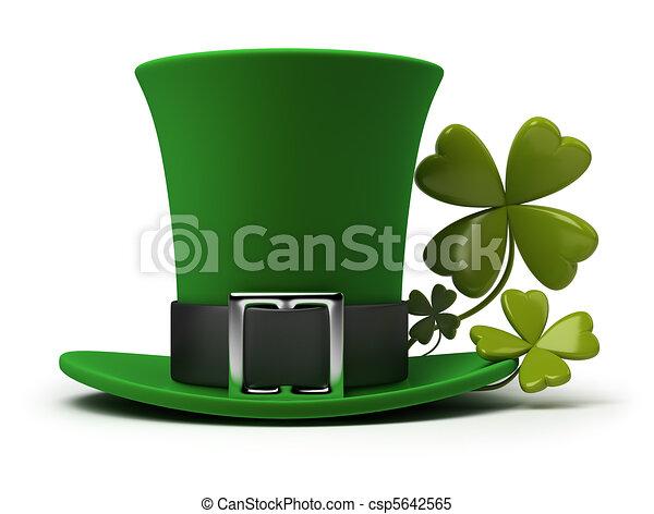 St Patricks hat and clover - csp5642565