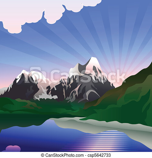 Vector landscape with sunrise over the mountain lake - csp5642733