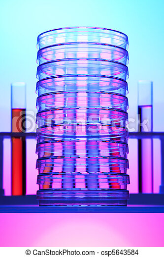 Stack of petri dishes  - csp5643584