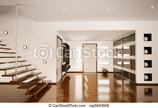 Modern interior of hall 3d render - csp5643608