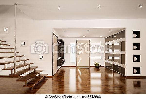 Modern interior of hall 3d render - csp5643608