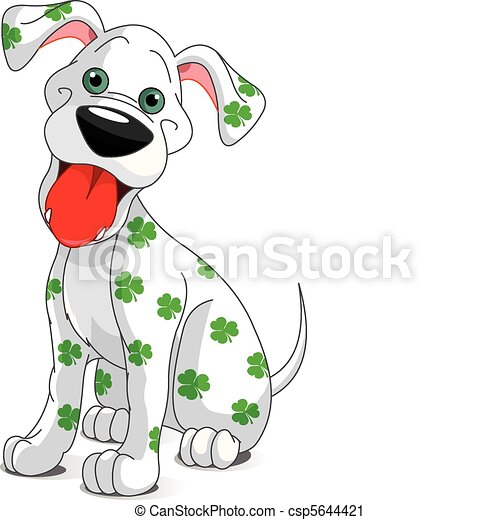 Cute smiling St. Patrick's Day dog - csp5644421