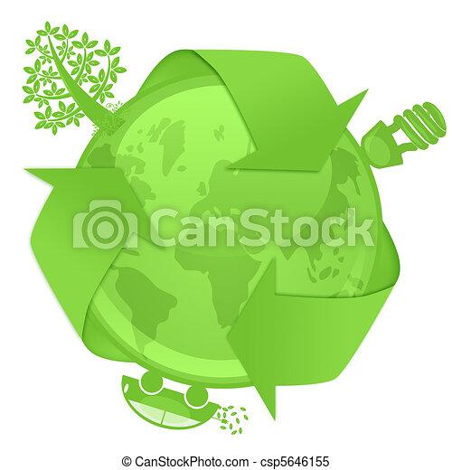 Eco Globe with Tree Energy Bulb Hybrid Car - csp5646155