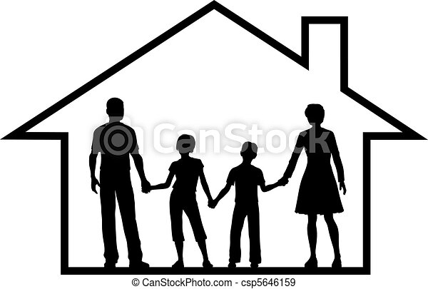 Family house parents kids inside safe home - csp5646159