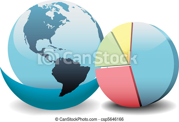 Global financial economy pie chart world - csp5646166