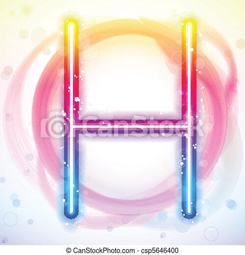 Alphabet Rainbow Lights in Circle White Background - csp5646400