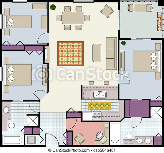 Vector clip art of floor plan of three bedrooms condo for Condo plans free
