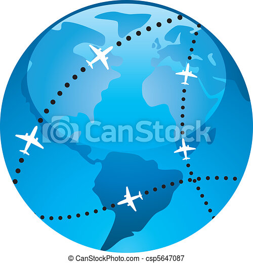airplane flight paths over earth  - csp5647087
