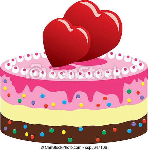 Valentine Cake Clip Art : Clip Art Vector of valentine cake with hearts - vector ...