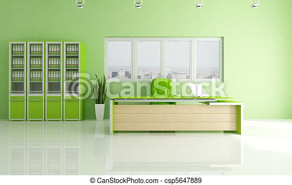moderne, vert, bureau - csp5647889