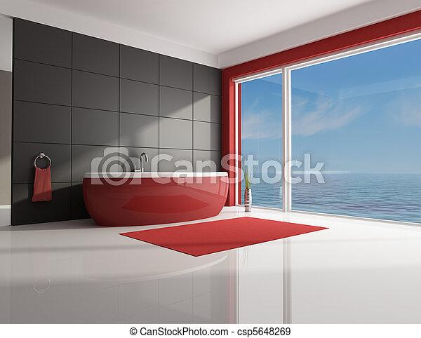 Stock fotografieken van minimalist rood bruine badkamer rood witte minimaal - Witte badkamer en bruin ...