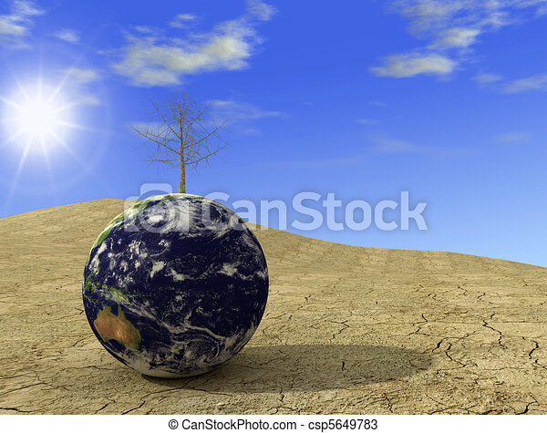 Environment emergency - arid earth digital artwork - csp5649783