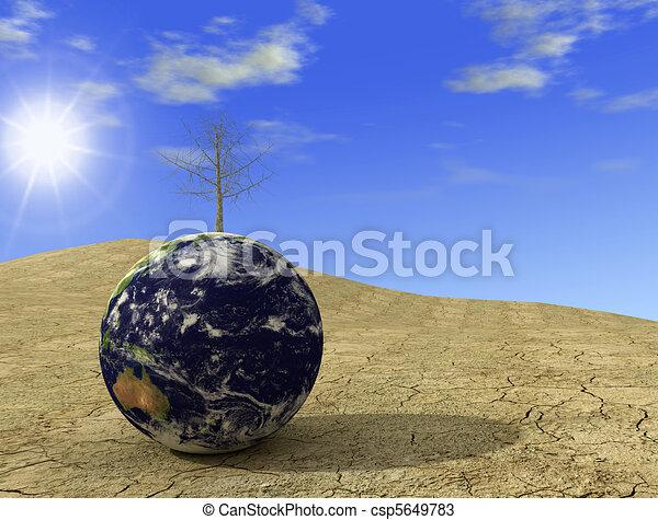 Environment emergency - arid earth digital artwork - csp5649783