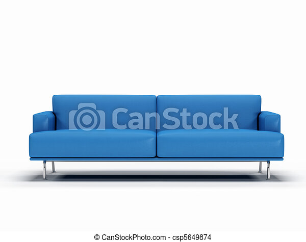 blue leather sofa on white background - digital artwork - csp5649874
