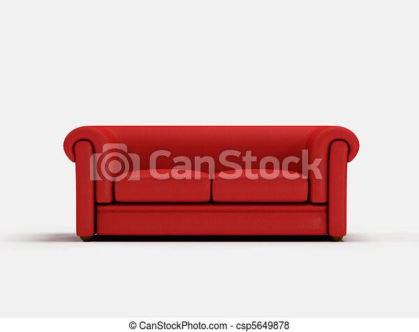 Red classic sofa  - csp5649878