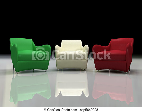 three design armchair with the color of italian flag -3d rendering - csp5649928