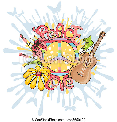 peace and love vector illustration - csp5650139